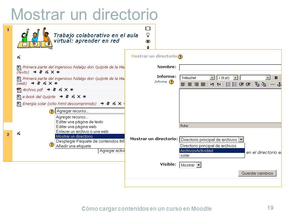 Cómo cargar contenidos en un curso en Moodle 19 Mostrar un directorio