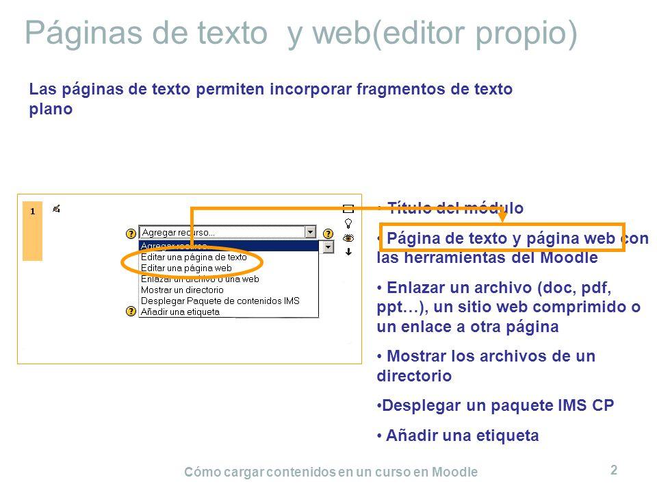 Cómo cargar contenidos en un curso en Moodle 2 Páginas de texto y web(editor propio) Título del módulo Página de texto y página web con las herramient
