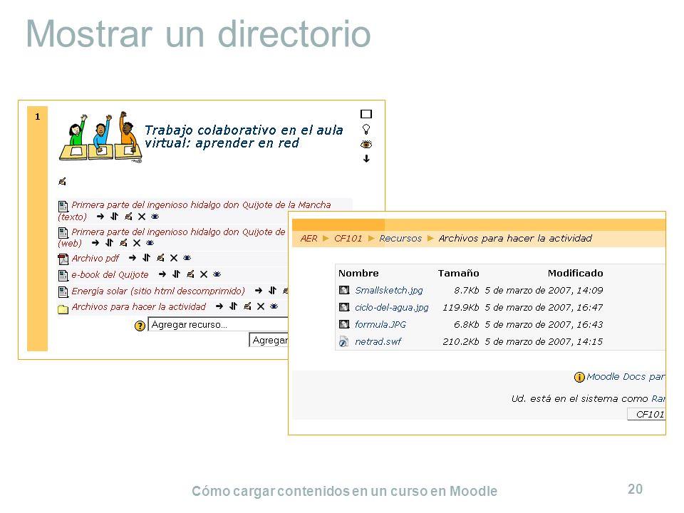 Cómo cargar contenidos en un curso en Moodle 20 Mostrar un directorio
