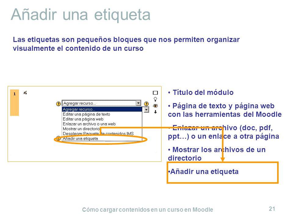 Cómo cargar contenidos en un curso en Moodle 21 Añadir una etiqueta Título del módulo Página de texto y página web con las herramientas del Moodle Enl