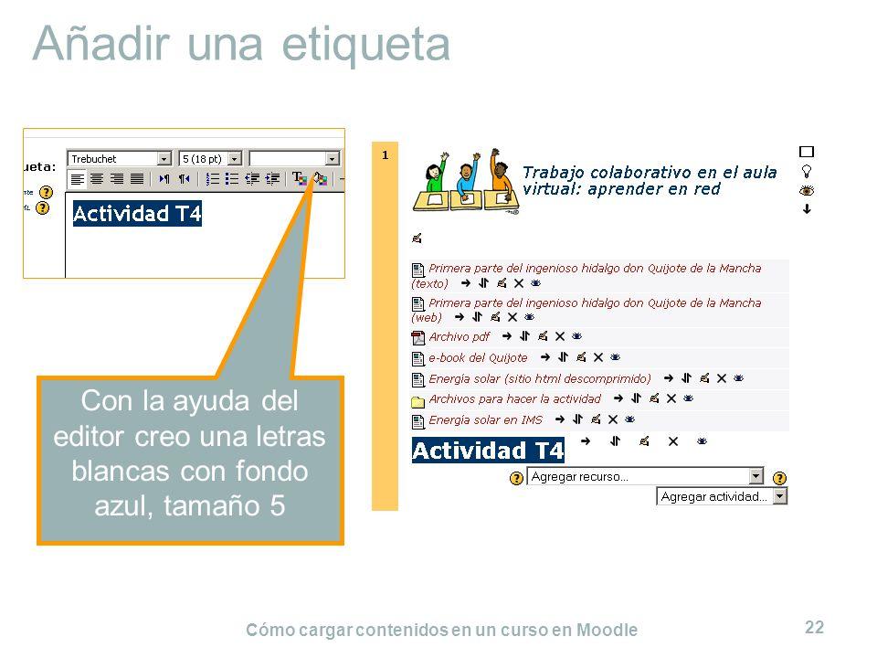 Cómo cargar contenidos en un curso en Moodle 22 Añadir una etiqueta Con la ayuda del editor creo una letras blancas con fondo azul, tamaño 5