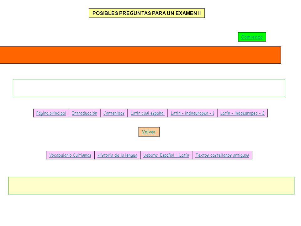 Página principalIntroducciónContenidosLatín casi españolLatín - indoeuropeo - 1Latín - indoeuropeo - 2 Vocabulario CultismosHistoria de la lenguaDebat