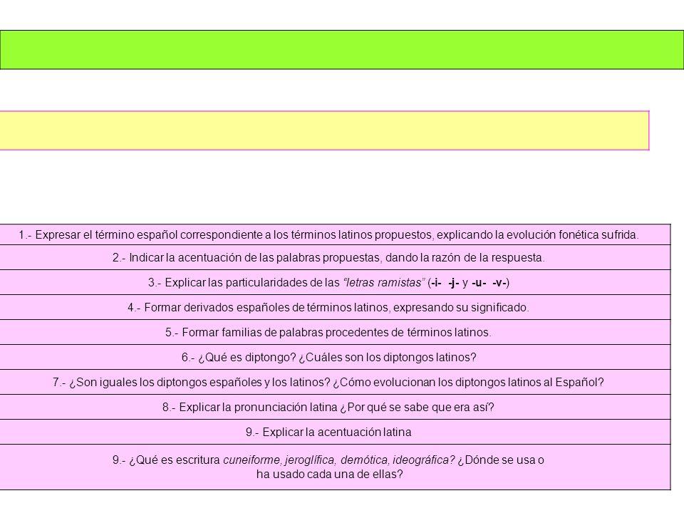 1.- Expresar el término español correspondiente a los términos latinos propuestos, explicando la evolución fonética sufrida. 2.- Indicar la acentuació