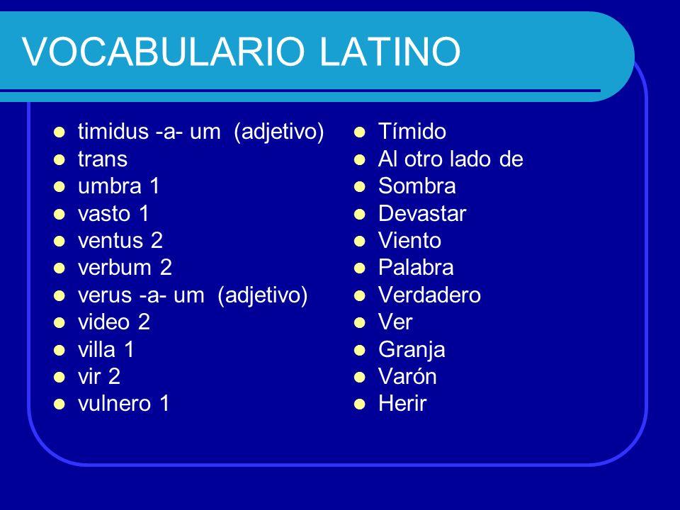 VOCABULARIO LATINO timidus -a- um (adjetivo) trans umbra 1 vasto 1 ventus 2 verbum 2 verus -a- um (adjetivo) video 2 villa 1 vir 2 vulnero 1 Tímido Al
