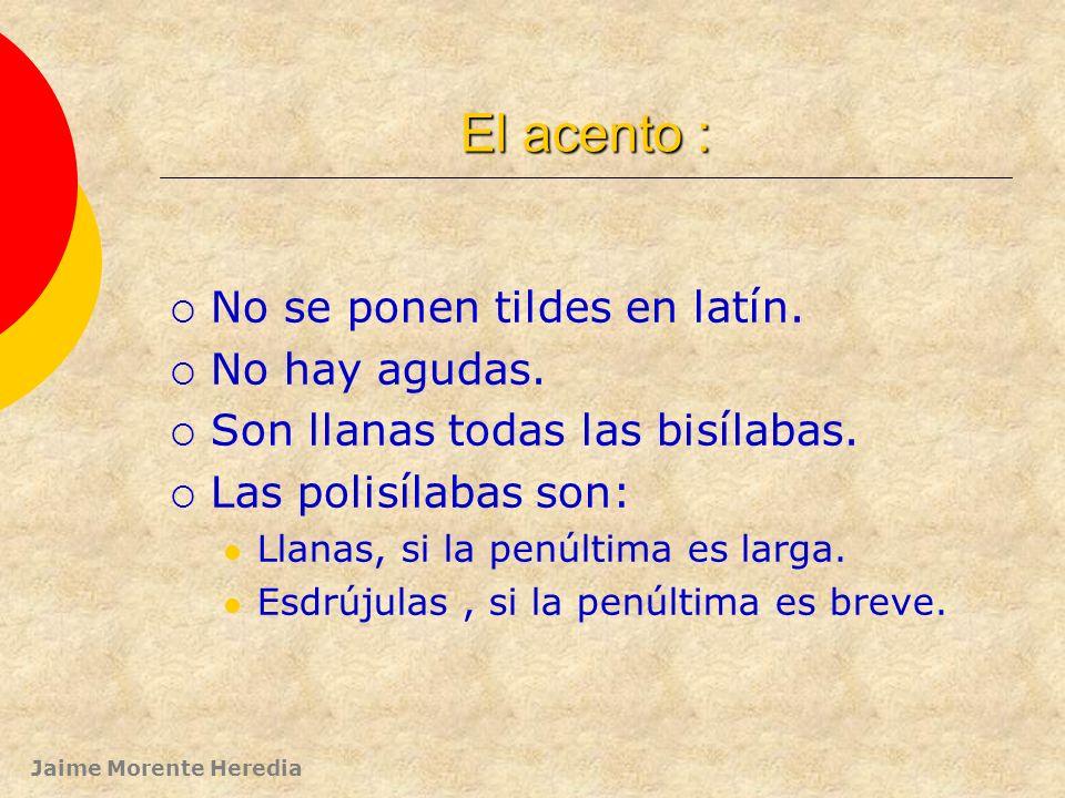 Jaime Morente Heredia LA PALABRA: su acentuación. (en palabras con más de dos sílabas) PRINCIPIOS BÁSICOS: 1º.- En latín la posición del acento DEPEND