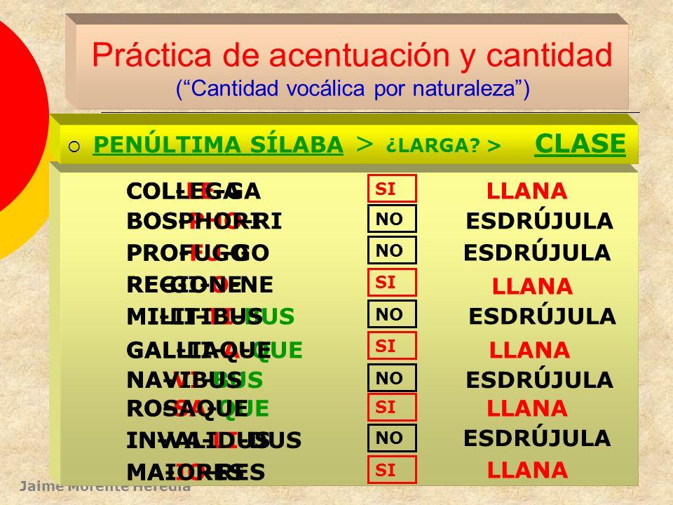 Jaime Morente Heredia Práctica de acentuación y cantidad (Cantidad vocálica por posición) PENÚLTIMA SÍLABA > ¿LARGA? > CLASE A-CHIL-LAM DI-RRA-CHI-O C