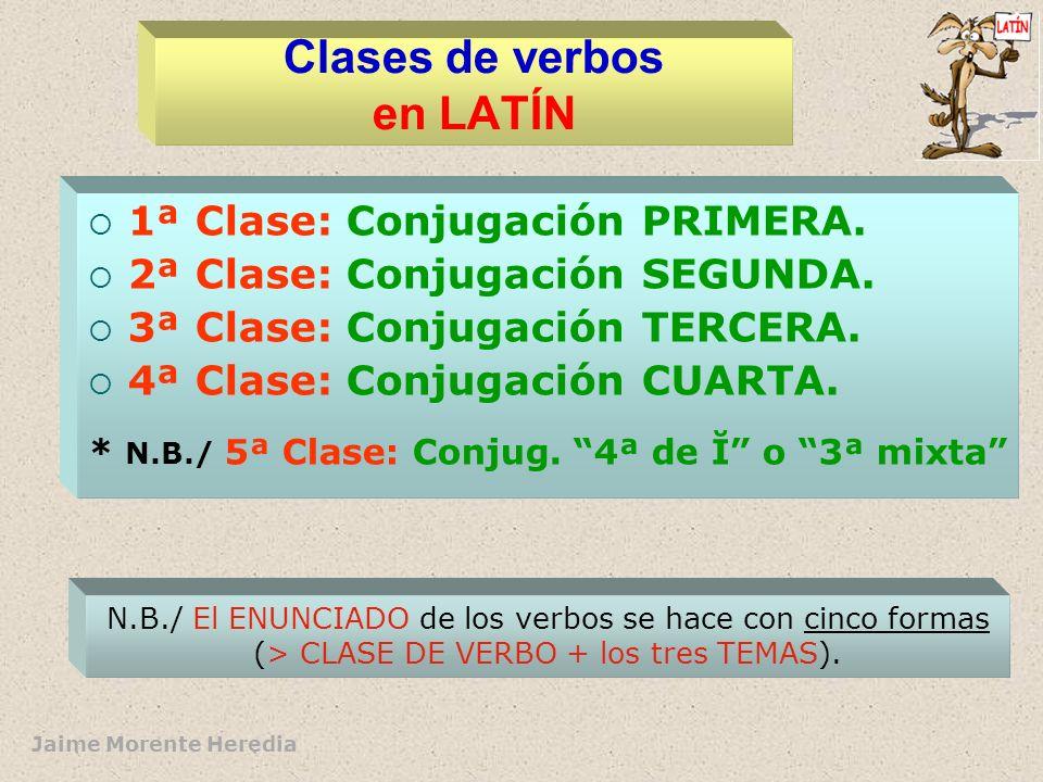 Jaime Morente Heredia Estructura del verbo ( formas de perfecto -pas- en LATÍN) Signos morfológicosSigno léxico -A- (1ª) -E- (2ª) -Ø- (3ª) -I- (4ª) Su