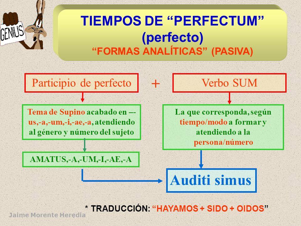 Jaime Morente Heredia Tema de Supino acabado en –- us,-a,-um,-i,-ae,-a, atendiendo al género y número del sujeto Participio de perfecto AMATUS,-A,-UM,-I,-AE,-A + Verbo SUM La que corresponda, según tiempo/modo a formar y atendiendo a la persona/número Auditi simus * TRADUCCIÓN: HAYAMOS + SIDO + OIDOS TIEMPOS DE PERFECTUM (perfecto) FORMAS ANALÍTICAS (PASIVA)