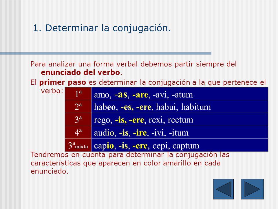 Para analizar una forma verbal debemos partir siempre del enunciado del verbo.