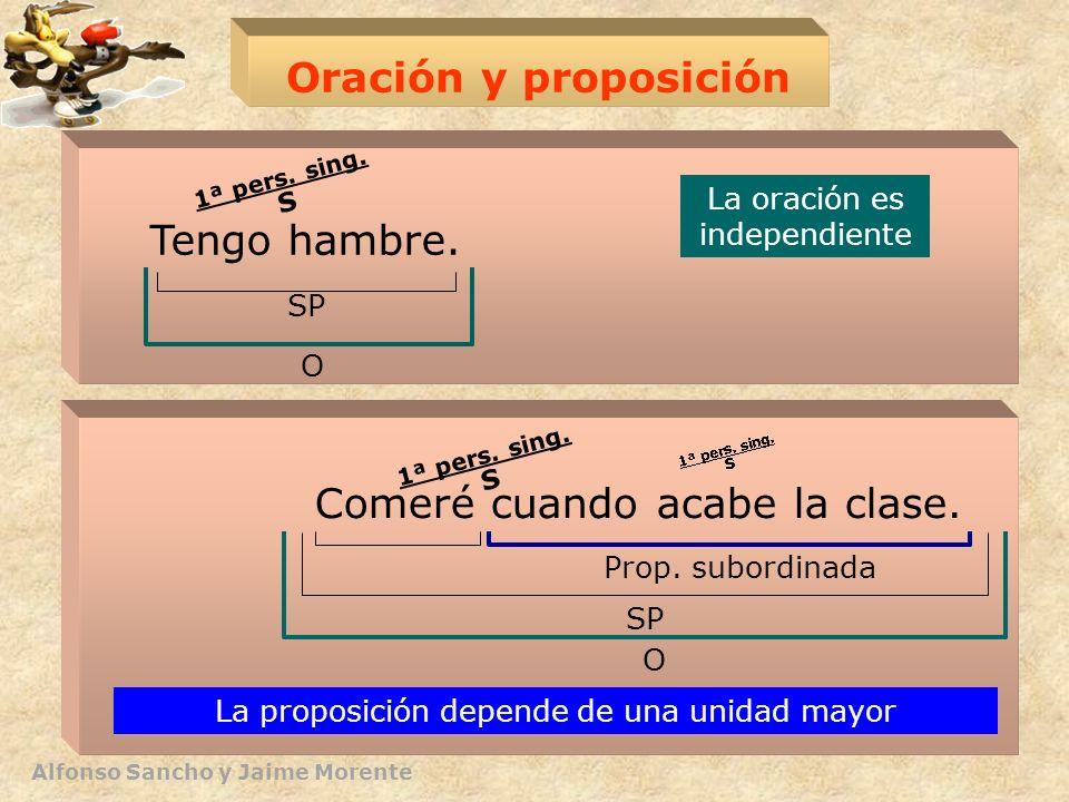 Alfonso Sancho y Jaime Morente Oración y proposición Tengo hambre. Comeré cuando acabe la clase. O SP Prop. subordinada La oración es independiente La