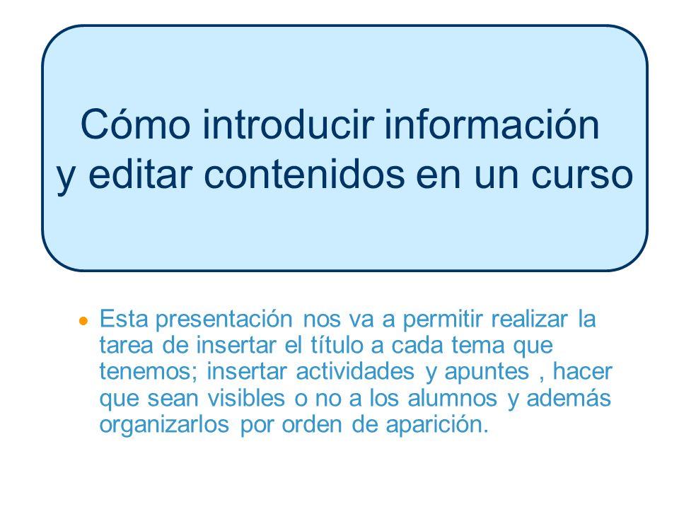 Cómo introducir información y editar contenidos en un curso Esta presentación nos va a permitir realizar la tarea de insertar el título a cada tema qu