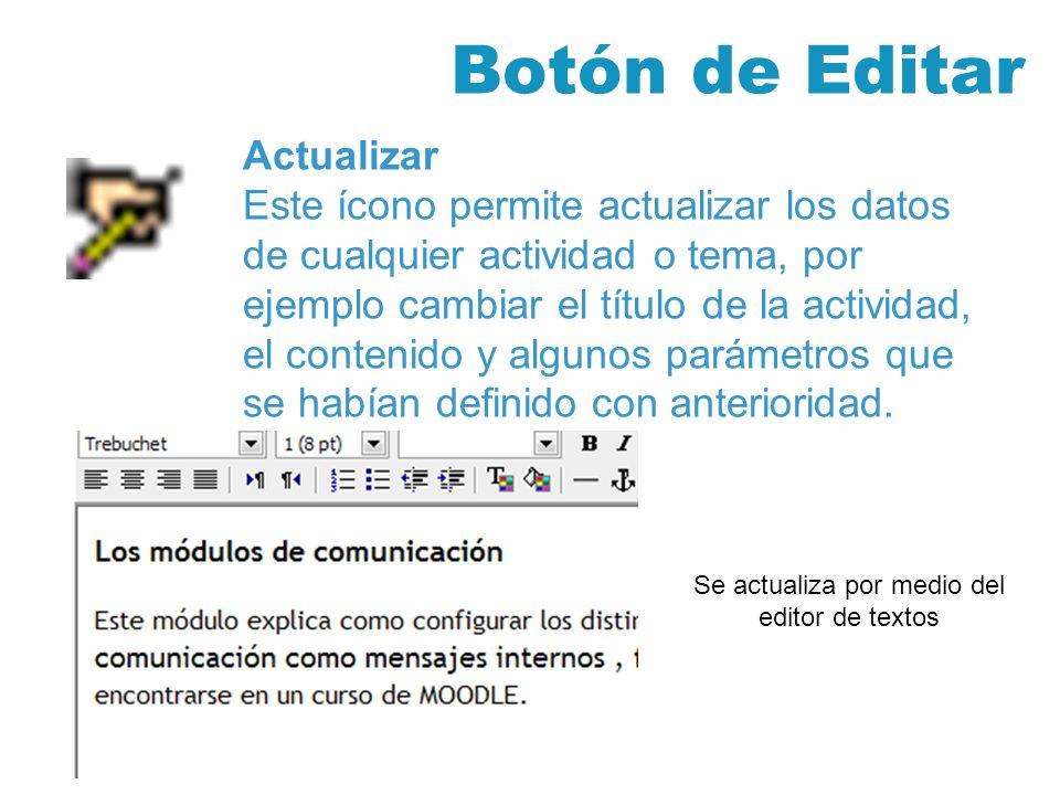 Botón de Editar Actualizar Este ícono permite actualizar los datos de cualquier actividad o tema, por ejemplo cambiar el título de la actividad, el contenido y algunos parámetros que se habían definido con anterioridad.