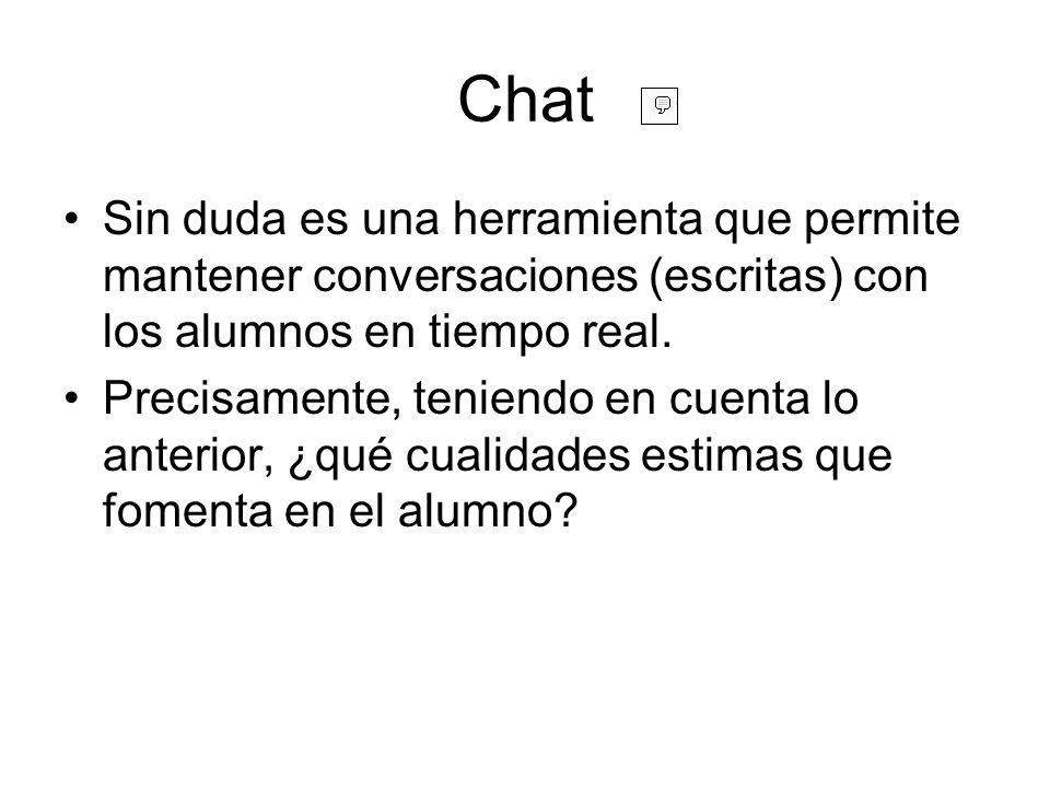 Chat Sin duda es una herramienta que permite mantener conversaciones (escritas) con los alumnos en tiempo real.