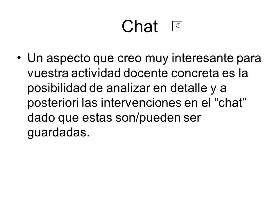 Chat Un aspecto que creo muy interesante para vuestra actividad docente concreta es la posibilidad de analizar en detalle y a posteriori las intervenciones en el chat dado que estas son/pueden ser guardadas.