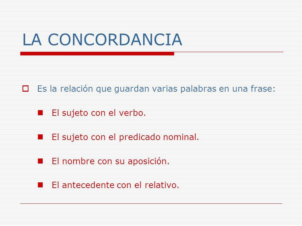 Concordancia sujeto-verbo El sujeto con el verbo concierta en número y persona.