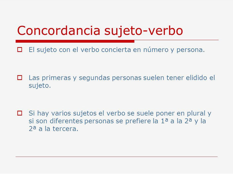 Concordancia sujeto-verbo El sujeto con el verbo concierta en número y persona. Las primeras y segundas personas suelen tener elidido el sujeto. Si ha