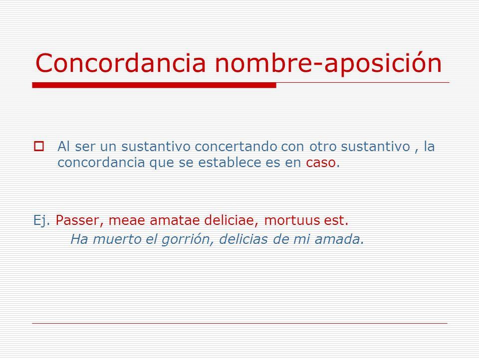 Concordancia nombre-aposición Al ser un sustantivo concertando con otro sustantivo, la concordancia que se establece es en caso. Ej. Passer, meae amat