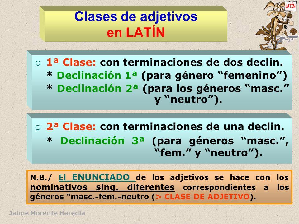 Jaime Morente Heredia Estructura del adjetivo (en LATÍN) Signos morfológicos Signo léxico Morfemas géneronúmero caso (2 clases) MORFEMAS DEPENDIENTES