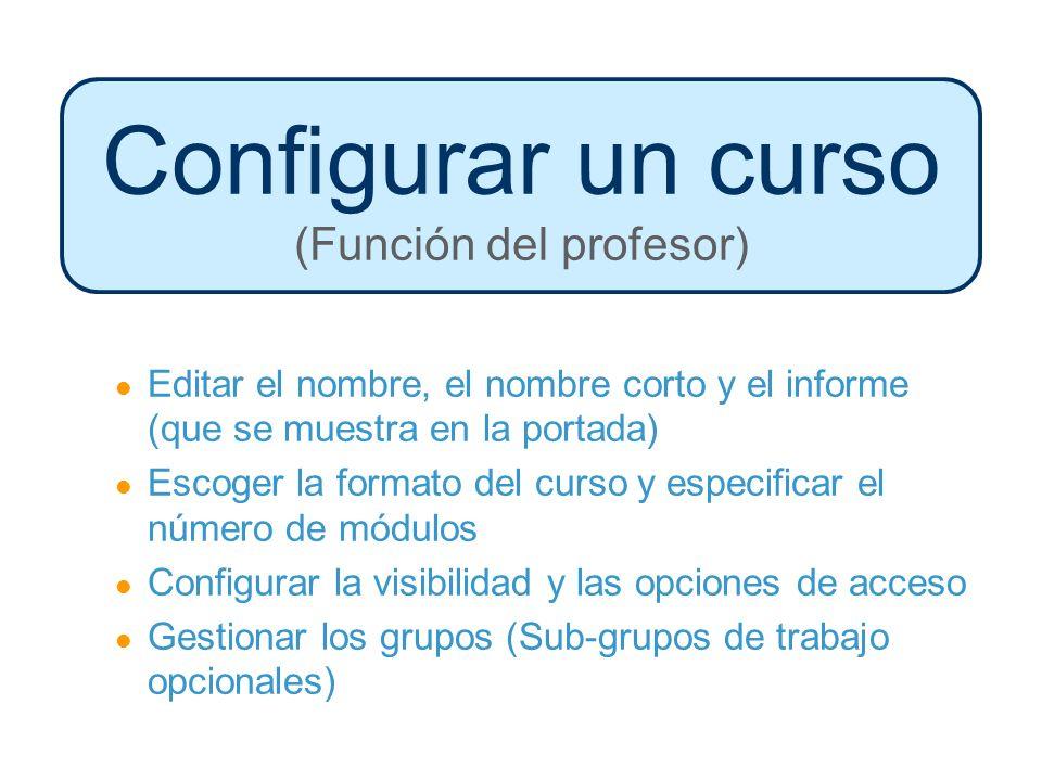Configurar un curso (Función del profesor) Editar el nombre, el nombre corto y el informe (que se muestra en la portada) Escoger la formato del curso y especificar el número de módulos Configurar la visibilidad y las opciones de acceso Gestionar los grupos (Sub-grupos de trabajo opcionales)