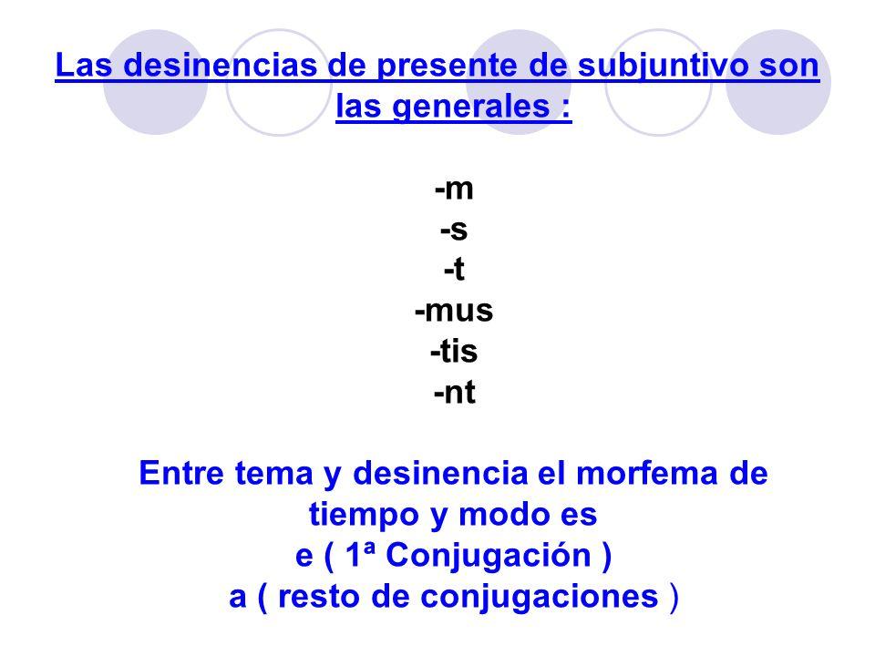 Las desinencias de presente de subjuntivo son las generales : -m -s -t -mus -tis -nt Entre tema y desinencia el morfema de tiempo y modo es e ( 1ª Con