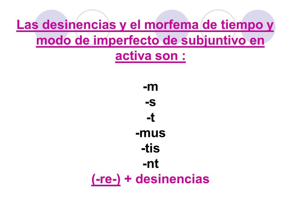 El morfema y desinencias del Pluscuamperfecto de Subjuntivo Activo son : -issem -isses -isset -issemus -issetis -issent Formación : Perfectum + morfema y desinencia Exemplum : sum,es,esse,fui ==>fuissem