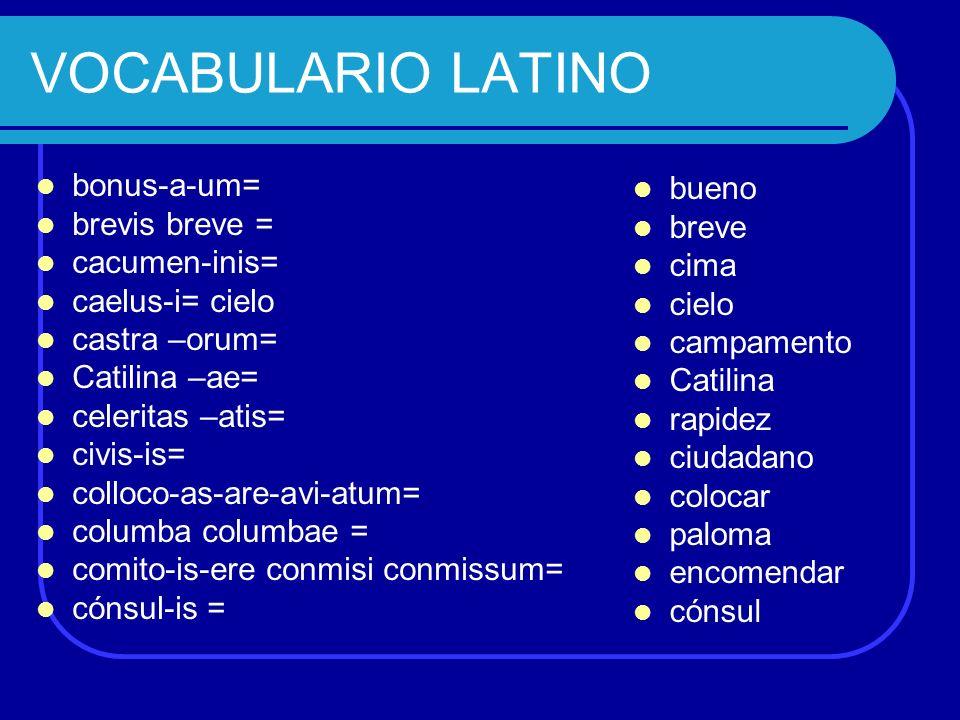VOCABULARIO LATINO bonus-a-um= brevis breve = cacumen-inis= caelus-i= cielo castra –orum= Catilina –ae= celeritas –atis= civis-is= colloco-as-are-avi-