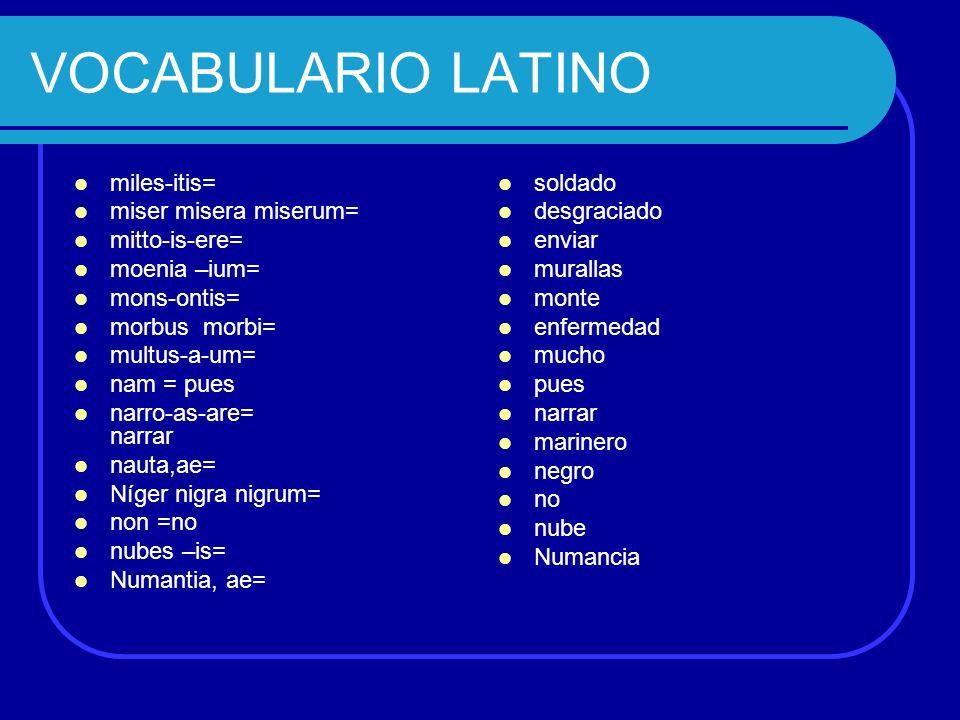 VOCABULARIO LATINO miles-itis= miser misera miserum= mitto-is-ere= moenia –ium= mons-ontis= morbus morbi= multus-a-um= nam = pues narro-as-are= narrar
