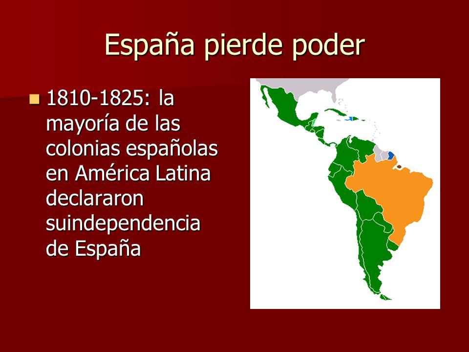 España pierde poder 1810-1825: la mayoría de las colonias españolas en América Latina declararon suindependencia de España 1810-1825: la mayoría de la