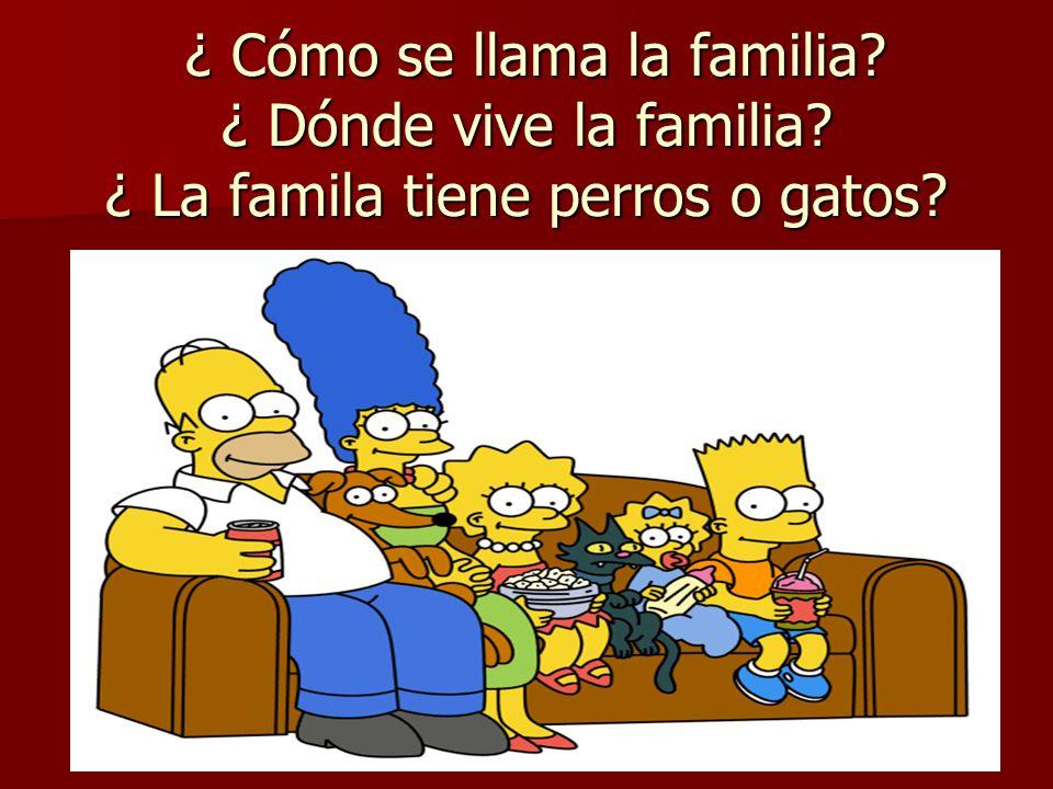 ¿ Cómo se llama la familia? ¿ Dónde vive la familia? ¿ La famila tiene perros o gatos? ¿ Cómo se llama la familia? ¿ Dónde vive la familia? ¿ La famil