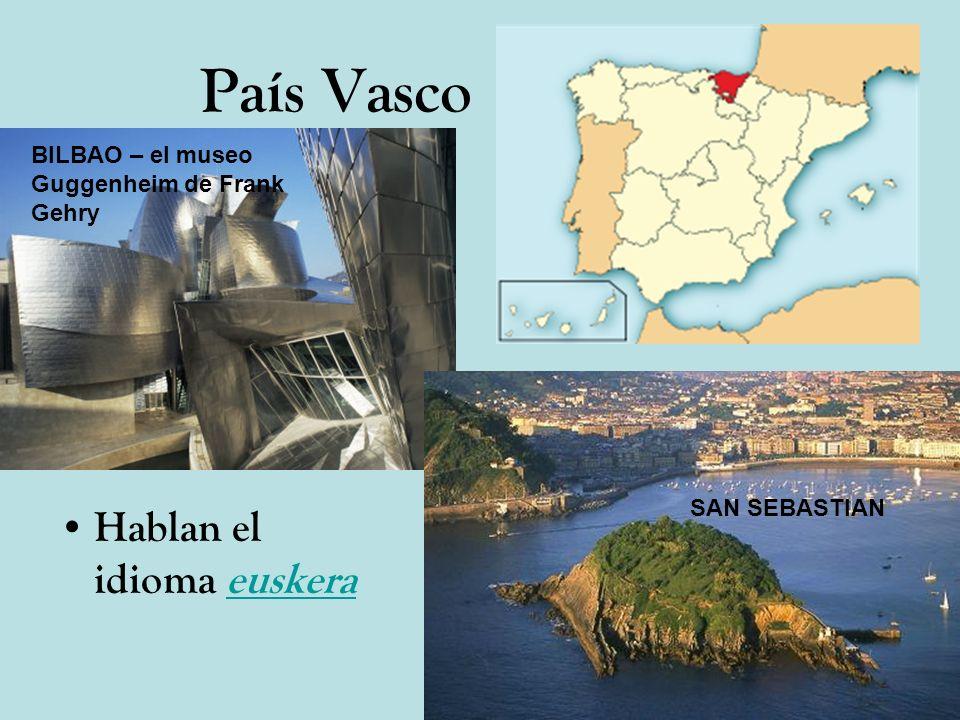 País Vasco Hablan el idioma euskeraeuskera BILBAO – el museo Guggenheim de Frank Gehry SAN SEBASTIAN