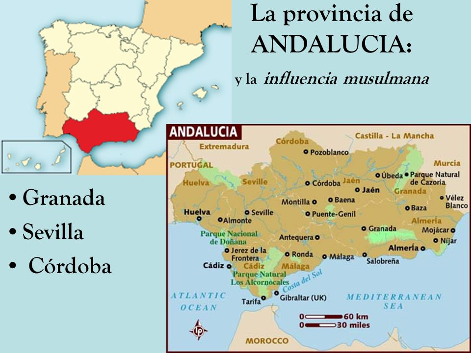 La provincia de ANDALUCIA: y la influencia musulmana Granada Sevilla Córdoba