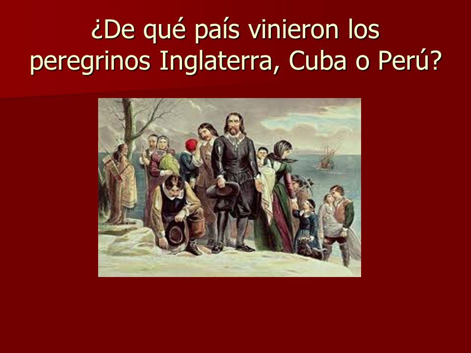 ¿De qué país vinieron los peregrinos Inglaterra, Cuba o Perú?
