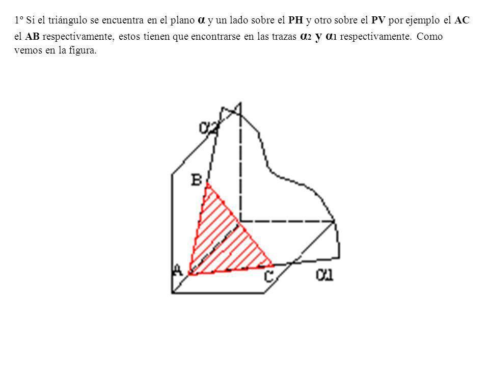 1º Si el triángulo se encuentra en el plano α y un lado sobre el PH y otro sobre el PV por ejemplo el AC el AB respectivamente, estos tienen que encon