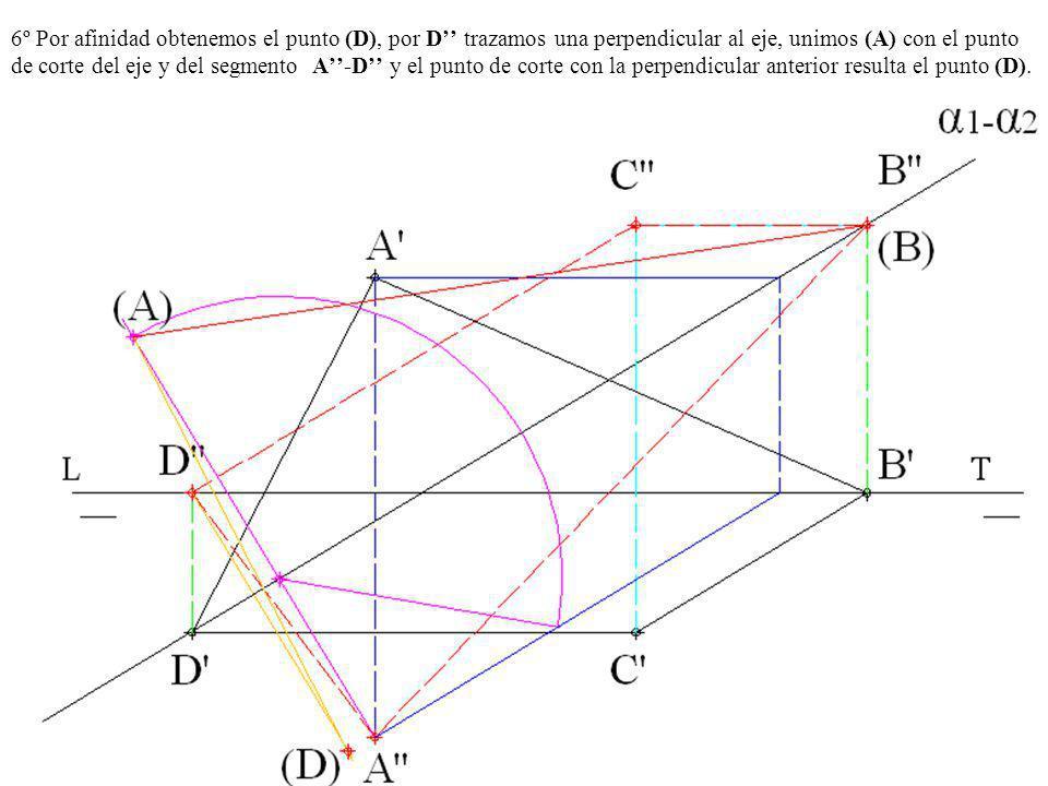 6º Por afinidad obtenemos el punto (D), por D trazamos una perpendicular al eje, unimos (A) con el punto de corte del eje y del segmento A-D y el punt