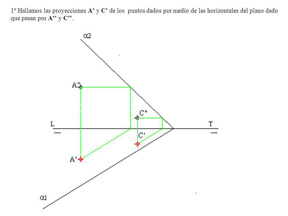 8º Unimos los puntos A-B-C, y A-B-C, obtenemos la proyección horizontal y vertical del triángulo.
