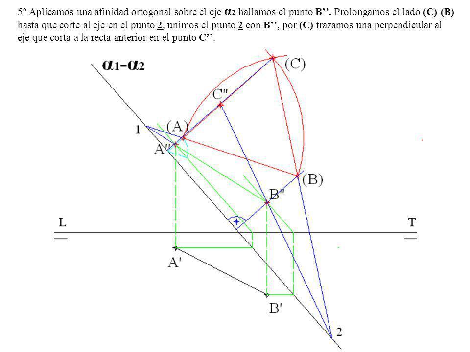 5º Aplicamos una afinidad ortogonal sobre el eje α 2 hallamos el punto B. Prolongamos el lado (C)-(B) hasta que corte al eje en el punto 2, unimos el