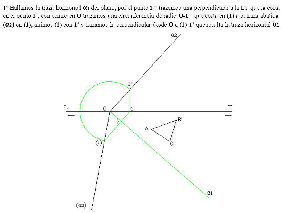 1º Hallamos la traza horizontal α 1 del plano, por el punto 1 trazamos una perpendicular a la LT que la corta en el punto 1, con centro en O trazamos