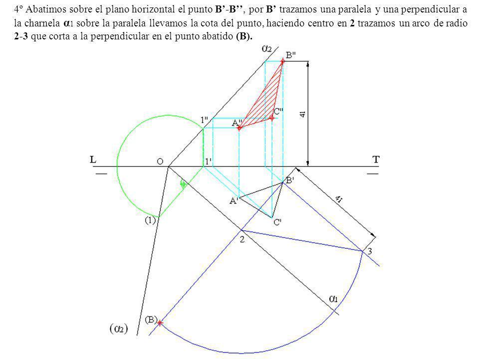 4º Abatimos sobre el plano horizontal el punto B-B, por B trazamos una paralela y una perpendicular a la charnela α 1 sobre la paralela llevamos la co