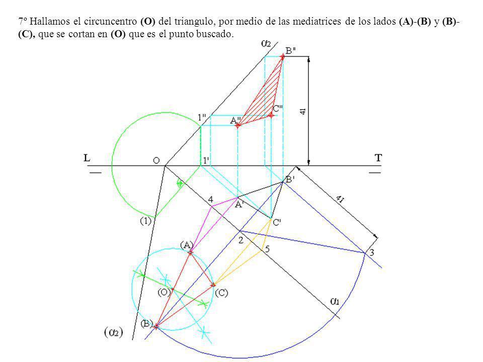 7º Hallamos el circuncentro (O) del triangulo, por medio de las mediatrices de los lados (A)-(B) y (B)- (C), que se cortan en (O) que es el punto busc