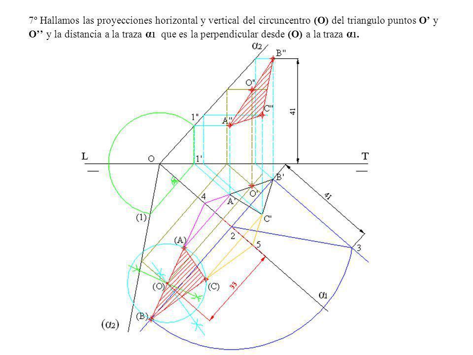 7º Hallamos las proyecciones horizontal y vertical del circuncentro (O) del triangulo puntos O y O y la distancia a la traza α 1 que es la perpendicul