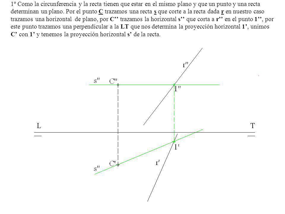 1º Como la circunferencia y la recta tienen que estar en el mismo plano y que un punto y una recta determinan un plano. Por el punto C trazamos una re