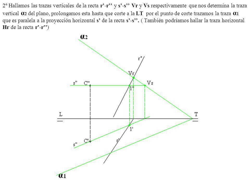 2º Hallamos las trazas verticales de la recta r-r y s-s Vr y Vs respectivamente que nos determina la traza vertical α 2 del plano, prolongamos esta ha