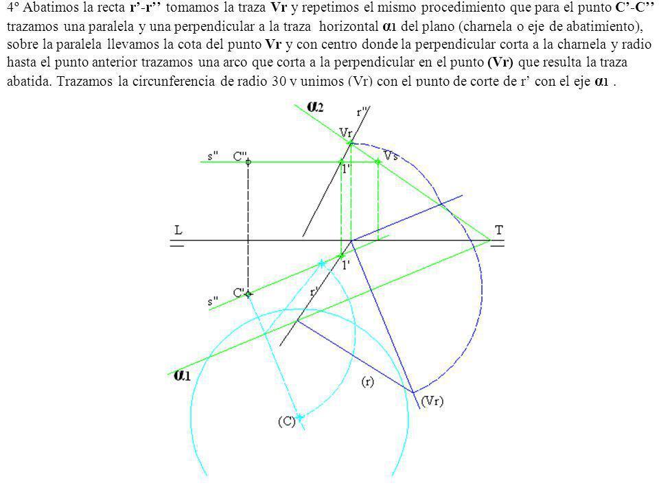 4º Abatimos la recta r-r tomamos la traza Vr y repetimos el mismo procedimiento que para el punto C-C trazamos una paralela y una perpendicular a la t