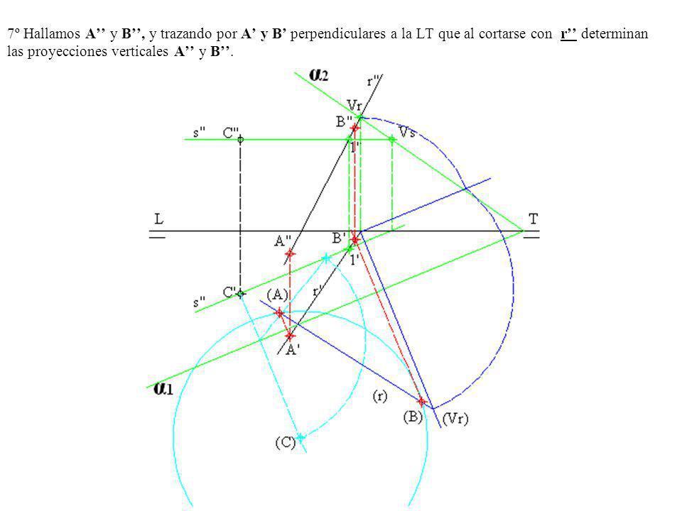 7º Hallamos A y B, y trazando por A y B perpendiculares a la LT que al cortarse con r determinan las proyecciones verticales A y B.