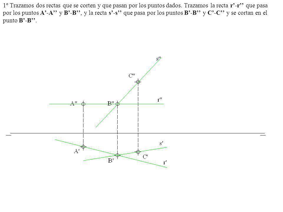 1º Trazamos dos rectas que se corten y que pasan por los puntos dados. Trazamos la recta r-r que pasa por los puntos A-A y B-B, y la recta s-s que pas