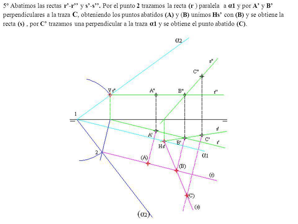 5º Abatimos las rectas r-r y s-s. Por el punto 2 trazamos la recta (r ) paralela a α 1 y por A y B perpendiculares a la traza C, obteniendo los puntos