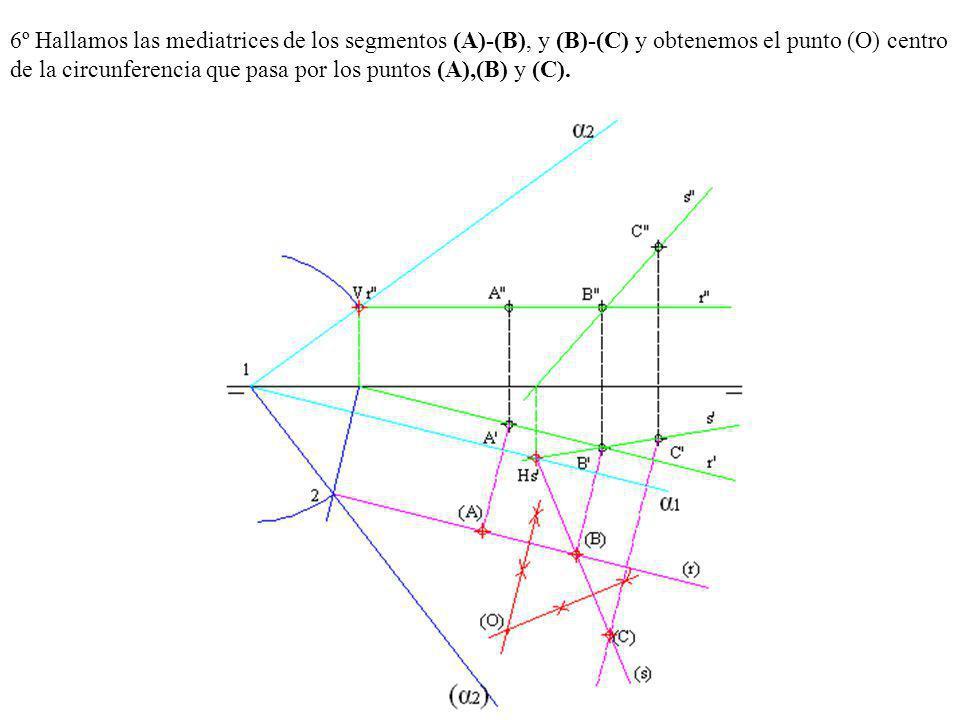 6º Hallamos las mediatrices de los segmentos (A)-(B), y (B)-(C) y obtenemos el punto (O) centro de la circunferencia que pasa por los puntos (A),(B) y