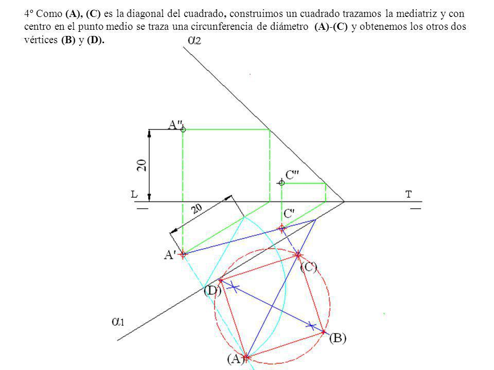 3º Abatimos sobre el PH el punto C-C centro de la circunferencia, por C trazamos una paralela y una perpendicular a la traza horizontal α 1 del plano (charnela o eje de abatimiento), sobre la paralela llevamos la cota del punto C (22 mm) y con centro donde la perpendicular corta a la charnela y radio hasta el punto anterior trazamos una arco que corta a la perpendicular en el punto (C) que resulta el centro abatido.