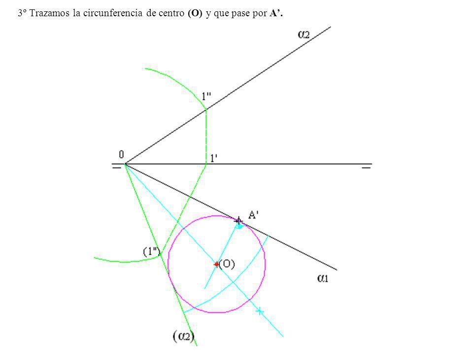 3º Trazamos la circunferencia de centro (O) y que pase por A.