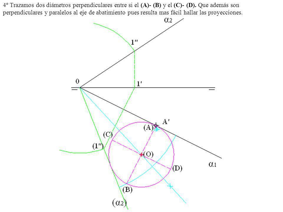 4º Trazamos dos diámetros perpendiculares entre si el (A)- (B) y el (C)- (D). Que además son perpendiculares y paralelos al eje de abatimiento pues re